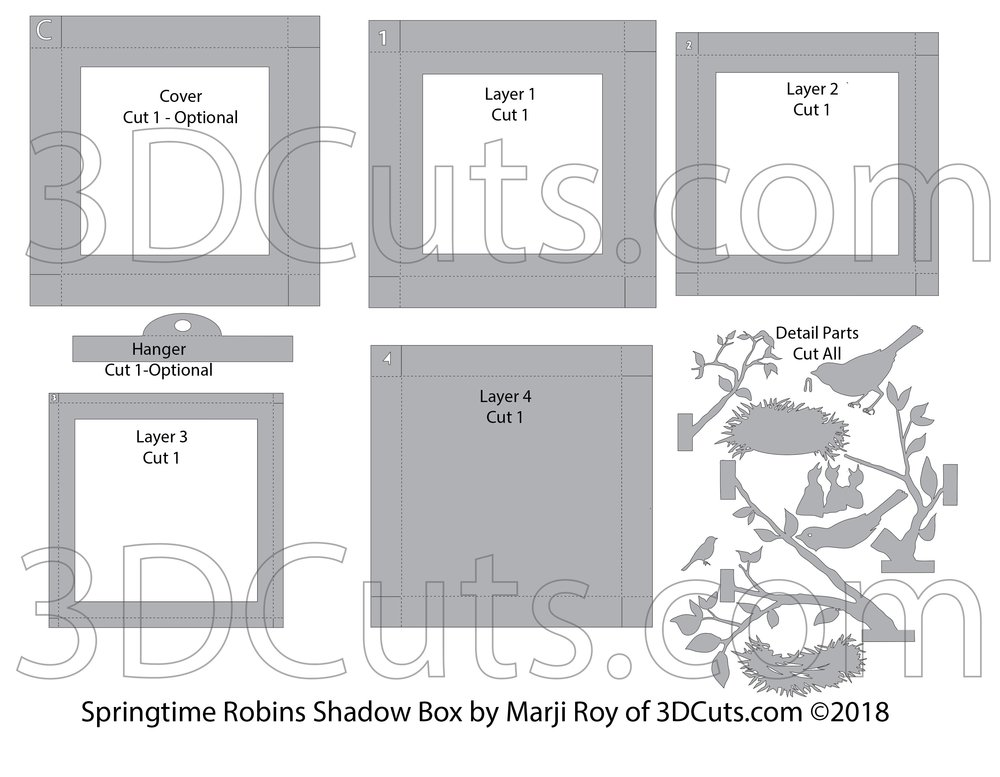 Layout for cutting files for Springtime Robins Shadow Box by 3dCuts.com, by Marji Roy, 3D cutting files in .svg, .dxf, png and .pdf formats for use with Silhouette, Cricut and Brother cutting machines, paper crafting files, SVG Files