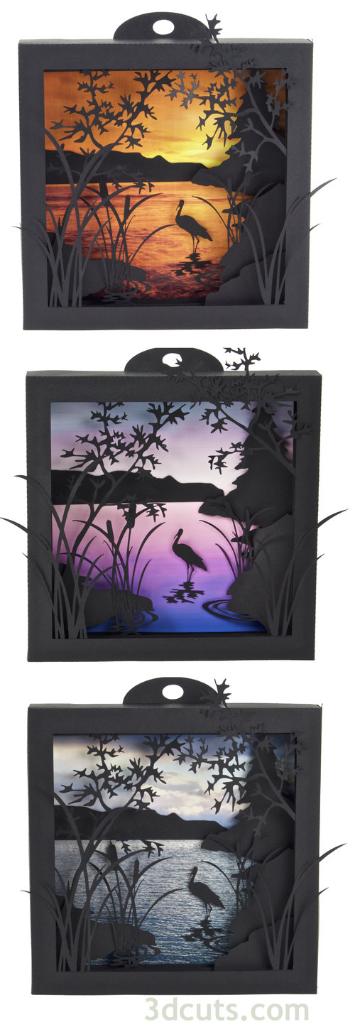 Heron Cove Shadow Boxes designed by Marji Roy of 3dcuts.com. Constructed in card shock using a Silhouette or Cricut cutting machine.