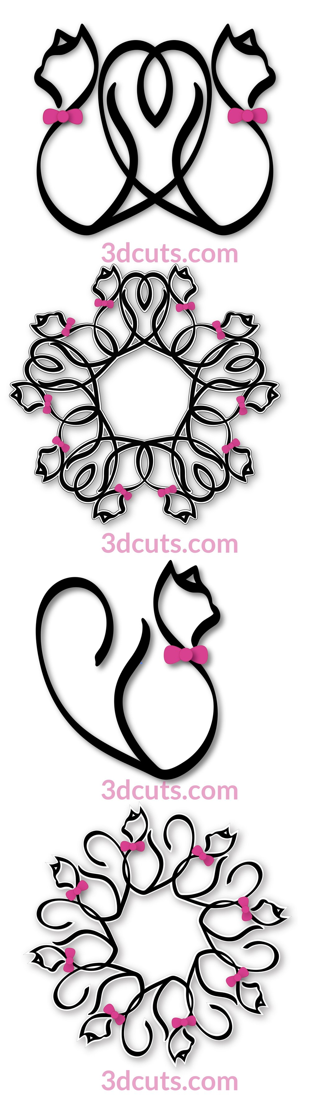 Calligraphic Kitties by 3dCuts.com, by Marji Roy, Cutting files in .svg, .dxf, png and .pdf formats for use with Silhouette, Cricut and Brother cutting machines, paper crafting files, SVG Files