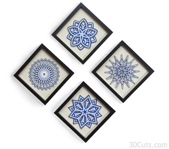 Mandalas by 3dCuts.com, by Marji Roy, Cutting files in .svg, .dxf, png and .pdf formats for use with Silhouette, Cricut and Brother cutting machines, paper crafting files, SVG Files