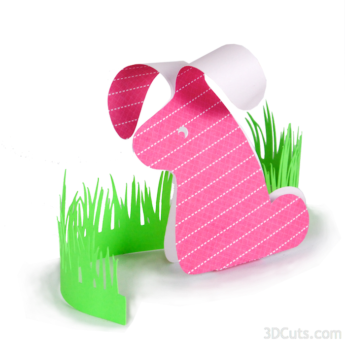 Floppy Eared Bunny by 3dCuts.com, by Marji Roy, Cutting files in .svg, .dxf, png and .pdf formats for use with Silhouette, Cricut and Brother cutting machines, paper crafting files, SVG Files