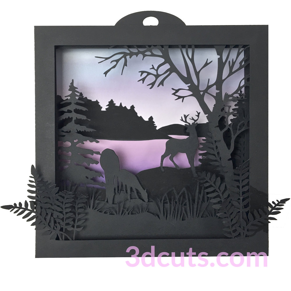 Deer Shadow Box by 3dCuts.com, by Marji Roy, Cutting files in .svg, .dxf, png and .pdf formats for use with Silhouette, Cricut and Brother cutting machines, paper crafting files, SVG Files