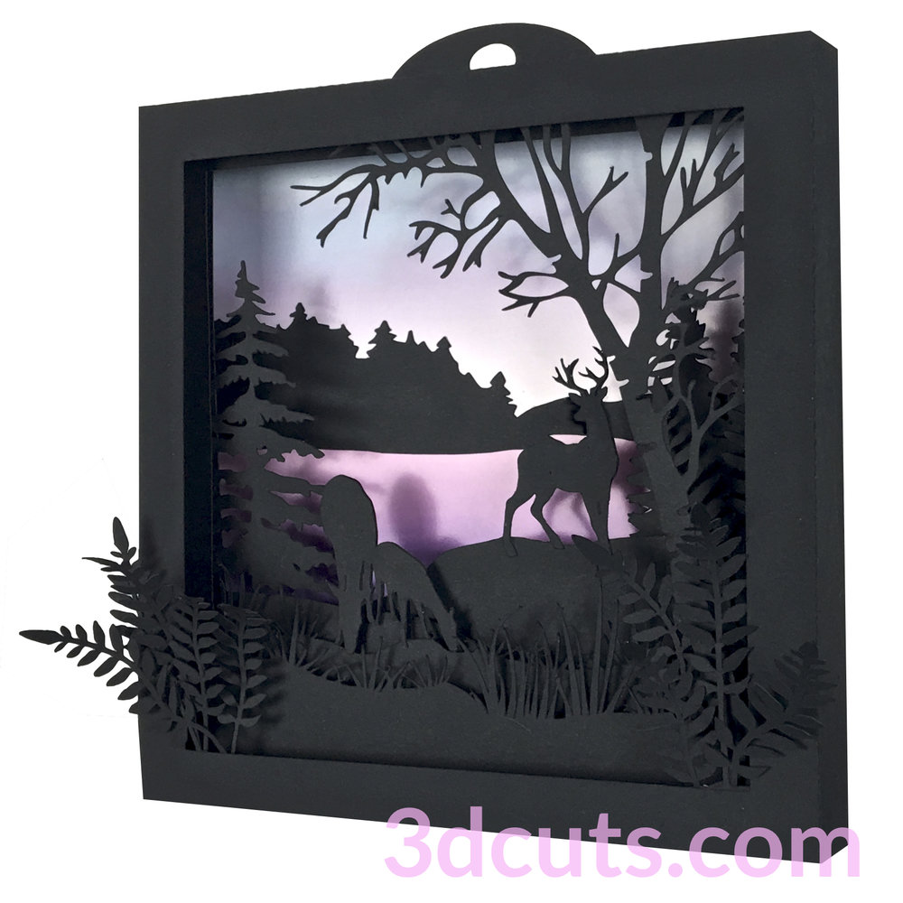 Deer Shadow Box by 3dCuts.com,by Marji Roy, Cutting files in .svg, .dxf, png and .pdf formats for use with Silhouette, Cricut and Brother cutting machines, paper crafting files,SVG Files