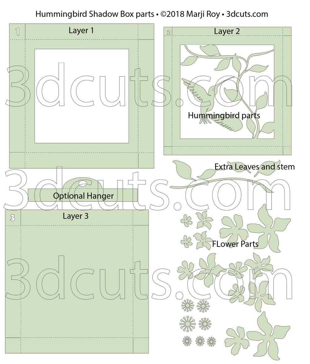 Layout for cutting files for Hummingbird Shadow Box by 3dCuts.com, by Marji Roy, 3D cutting files in .svg, .dxf, png and .pdf formats for use with Silhouette, Cricut and Brother cutting machines, paper crafting files, SVG Files