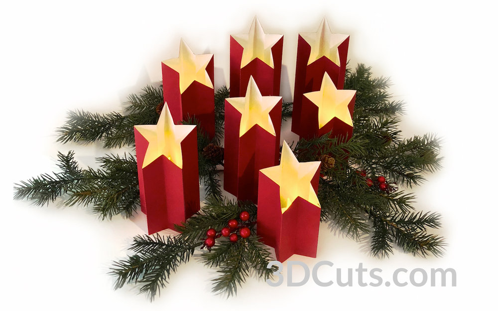Star Light Pillars by 3dCuts.com, by Marji Roy, Cutting files in svg, dxf, png and pdf formats for use with Silhouette, Cricut and Brother cutting machines, paper crafting files,SVG Files