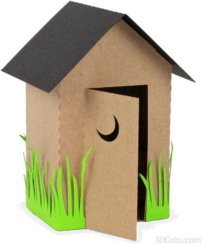 Outhouse by 3dCuts.com, by Marji Roy, Cutting files in svg, dxf, png and pdf formats for use with Silhouette, Cricut and Brother cutting machines, paper crafting files, SVG Files