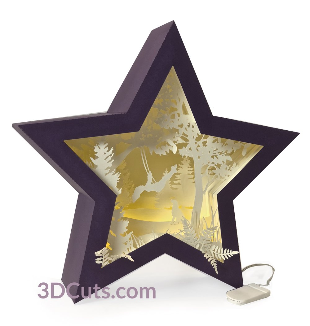 Stunning 3D illuminated Swinging Girl Star Shadow Box by 3dCuts.com, Marji Roy, 3D cutting files in .svg, .dxf, png and .pdf formats for use with Silhouette, Cricut and Brother cutting machines, paper crafting files, SVG Files