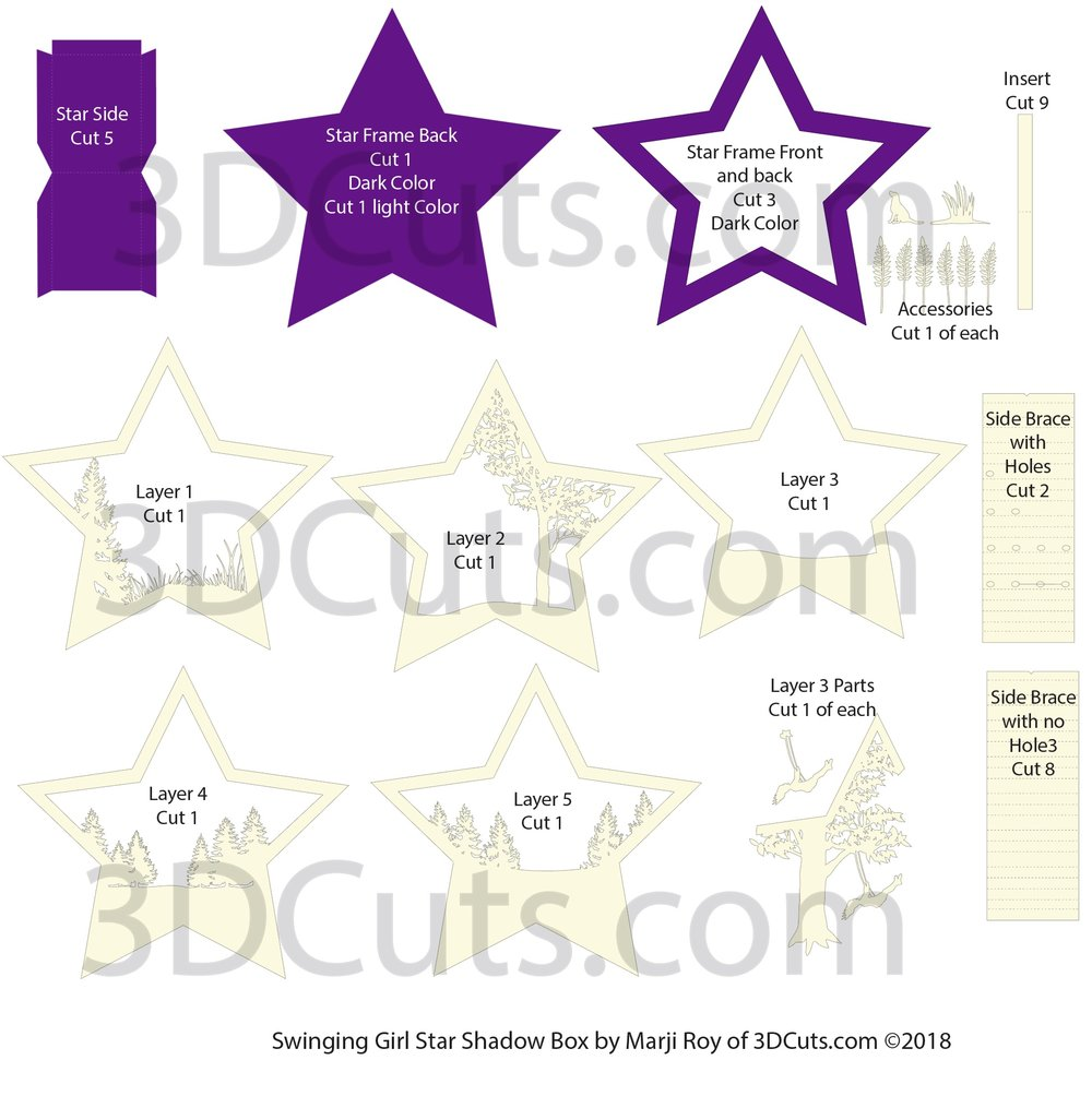 Layout for Stunning 3D illuminated Swinging Girl Star Shadow Box by 3dCuts.com, by Marji Roy, 3D cutting files in .svg, .dxf, png and .pdf formats for use with Silhouette, Cricut and Brother cutting machines, paper crafting files, SVG Files