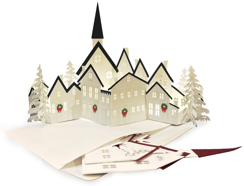Zig Zag Village by 3dCuts.com,by Marji Roy, Cutting files in svg, dxf, png and pdf formats for use with Silhouette, Cricut and Brother cutting machines, paper crafting files,SVG Files