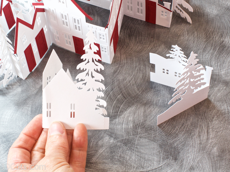 Zig Zag Village by 3dCuts.com, by Marji Roy, Cutting files in svg, dxf, png and pdf formats for use with Silhouette, Cricut and Brother cutting machines, paper crafting files, SVG Files