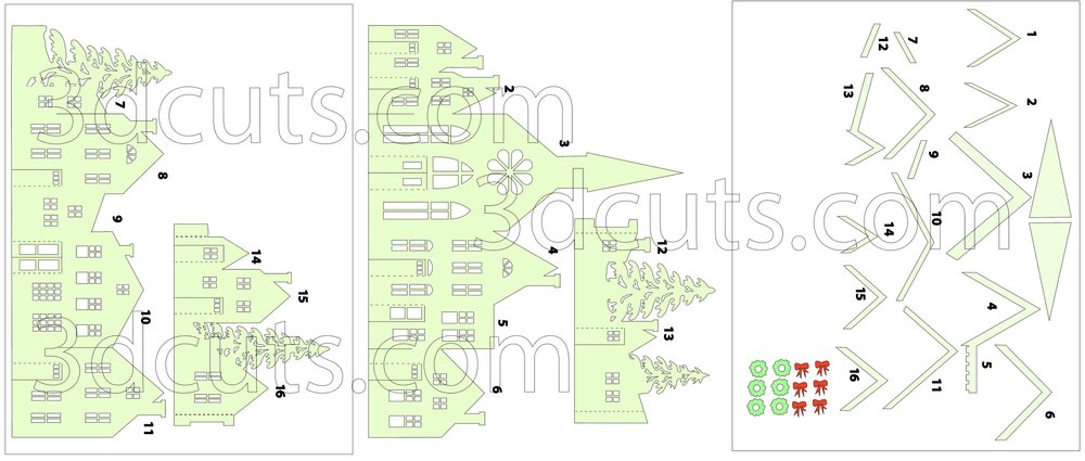 Zig Zag Village - Quick Version Layout by 3dCuts.com,  by Marji Roy, Cutting files in svg, dxf, png and pdf formats for use with Silhouette, Cricut and Brother cutting machines, paper crafting files, SVG Files