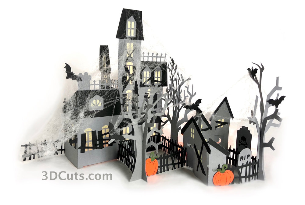 Zig Zag Haunted Village by 3dCuts.com, by Marji Roy, Cutting files in svg, dxf, png and pdf formats for use with Silhouette, Cricut and Brother cutting machines, paper crafting files, SVG Files