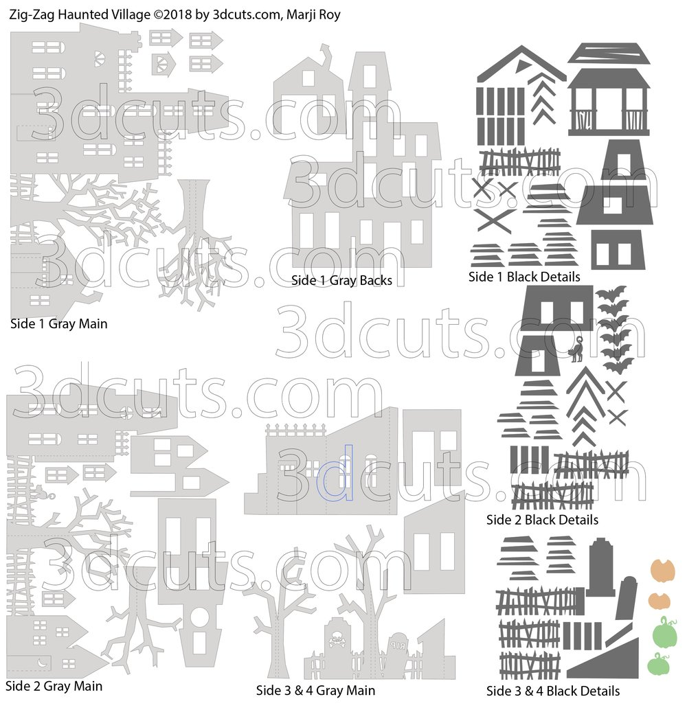 Zig-Zag Haunted Village by 3dCuts.com, by Marji Roy, Cutting files in svg, dxf, png and pdf formats for use with Silhouette, Cricut and Brother cutting machines, paper crafting files, SVG Files