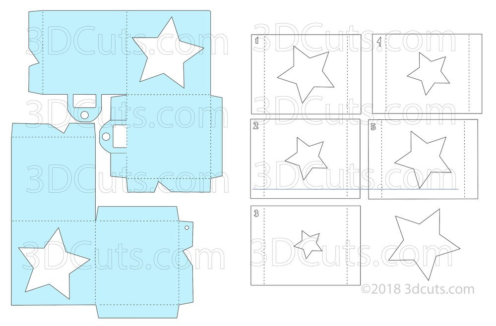 File layout for the Star Cube Shadow Box Ornament by Marji Roy of 3dcuts.com.
