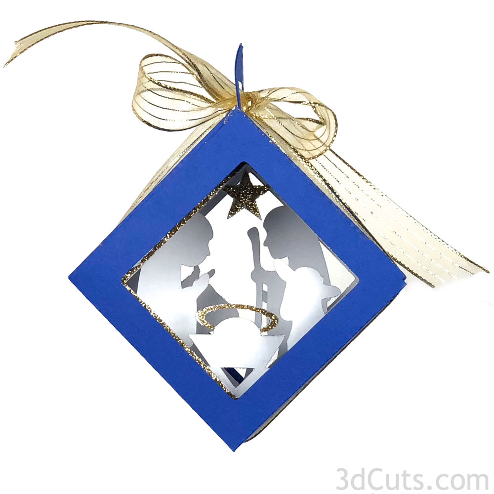 Cube Shadow Box Christmas Tree Ornaments by 3dCuts.com, by Marji Roy, Cutting files in .svg, .dxf, png and .pdf formats for use with Silhouette, Cricut and Brother cutting machines, paper crafting files, SVG Files