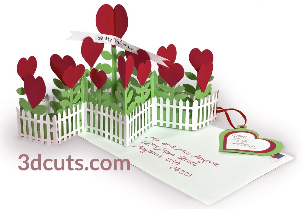 Valentine Garden, 3DCuts.com, Marji Roy, 3D cutting files in .svg, .dxf, and .pdf formats for use with Silhouette, Cricut and other cutting machines, paper crafting files