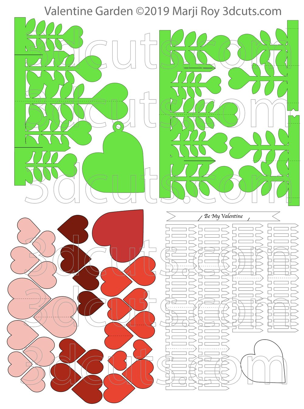 Valentine Garden, ©3DCuts.com, Marji Roy, 3D cutting files in .svg, .dxf, and .pdf formats for use with Silhouette, Cricut and other cutting machines, paper crafting files