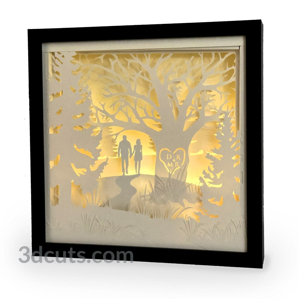 Stunning 3D illuminated Heart Tree Shadow Box Square, 3DCuts.com, Marji Roy, 3D cutting files in .svg, .dxf, and .pdf formats for use with Silhouette, Cricut and other cutting machines.