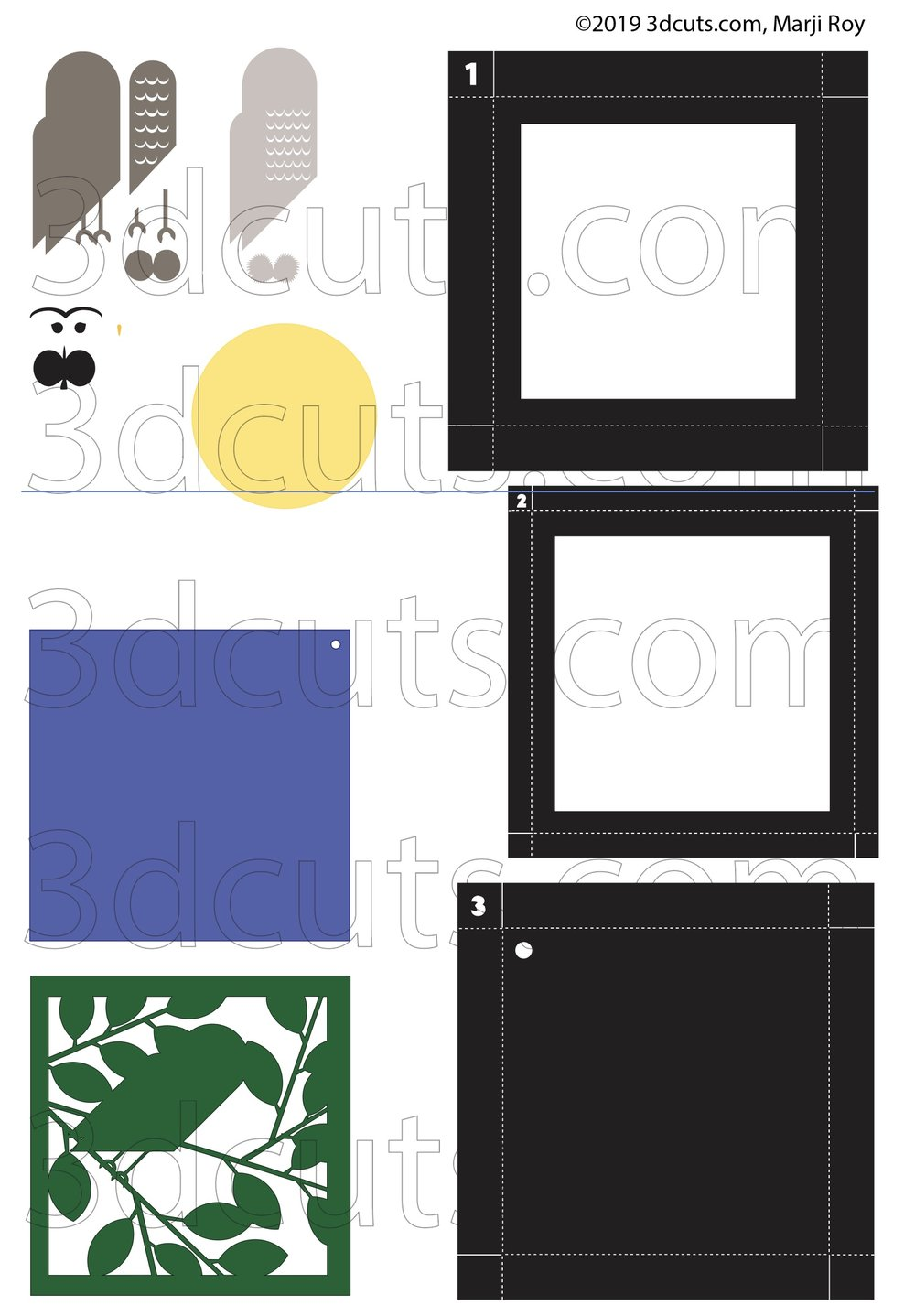Barred Owl Shadow Box from the Owl Series by 3DCuts.com, Marji Roy, 3D cutting files in .svg, .dxf, and .pdf formats for use with Silhouette, Cricut and other cutting machines.
