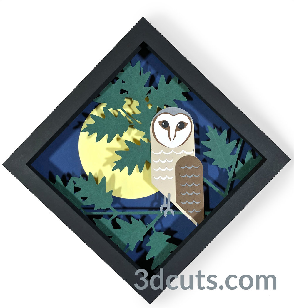 Barn Owl Shadow Box from the Owl Series by 3DCuts.com, Marji Roy, 3D cutting files in .svg, .dxf, and .pdf formats for use with Silhouette, Cricut and other cutting machines.
