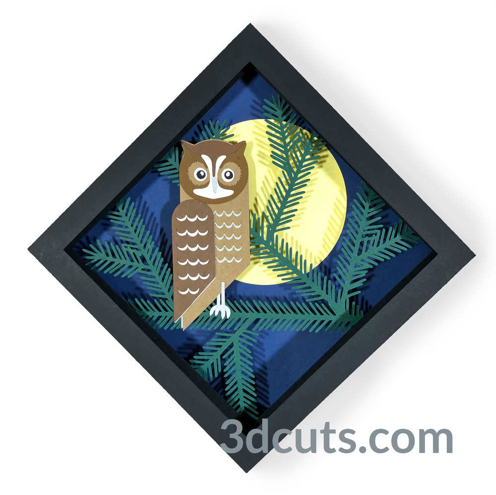 Screech Owl Shadow Box from the Owl Series by 3DCuts.com, Marji Roy, 3D cutting files in .svg, .dxf, and .pdf formats for use with Silhouette, Cricut and other cutting machines.