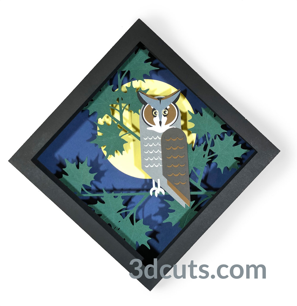 Great Horned Owl Shadow Box from the Owl Series by 3DCuts.com, Marji Roy, 3D cutting files in .svg, .dxf, and .pdf formats for use with Silhouette, Cricut and other cutting machines.