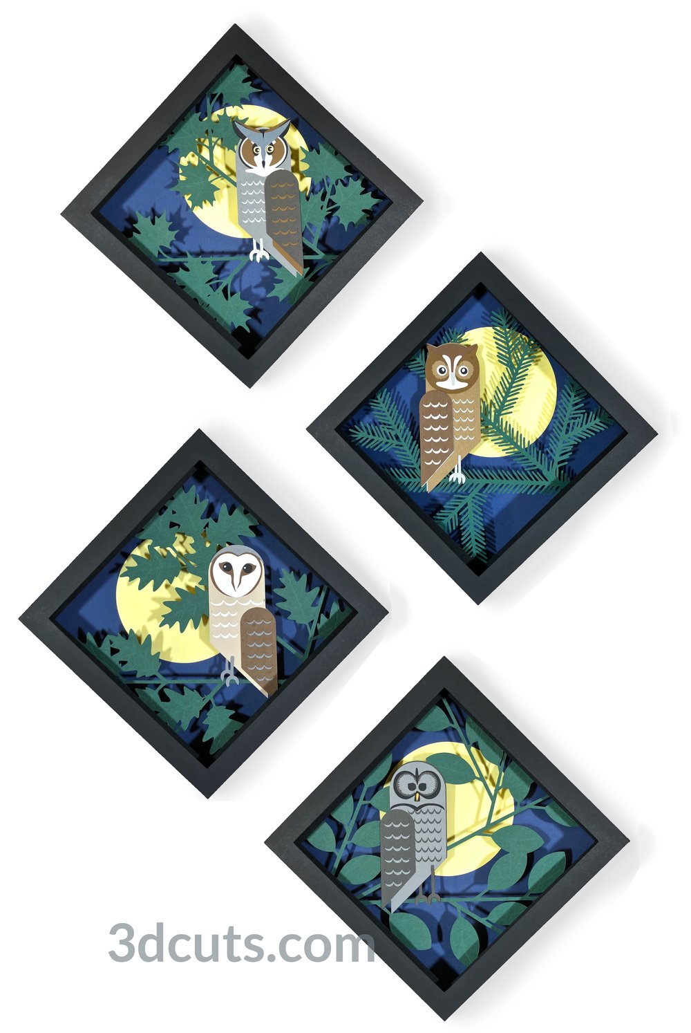 The Owl Shadow Box Series by 3DCuts.com, Marji Roy, 3D cutting files in .svg, .dxf, and .pdf formats for use with Silhouette, Cricut and other cutting machines.