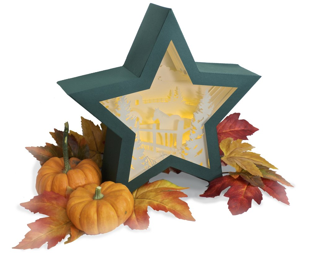3d Star Nativity Shadow Box cutting files in SVG, pdf, png, and dxf formats, with LED back lights. Designed by Marji Roy of 3dcuts.com for Silhouette and Cricut cutting machines