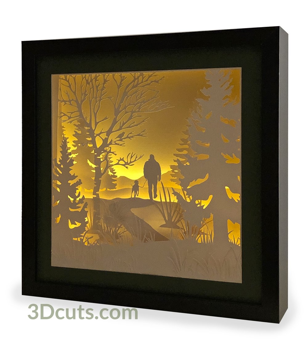 Companionship Shadow Box Square featuring person walking dog, 3DCuts.com, Marji Roy, 3D cutting files in .svg, .dxf, and .pdf formats for use with Silhouette, Cricut and other cutting machines, paper crafting files