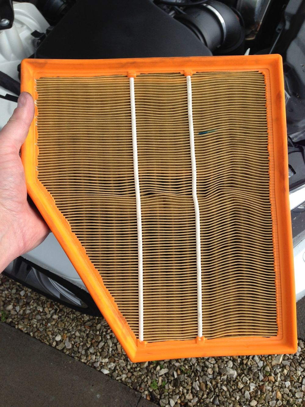 Engine air filter looks a bit dirty but is actually in good condition. Will replace at next oil service.