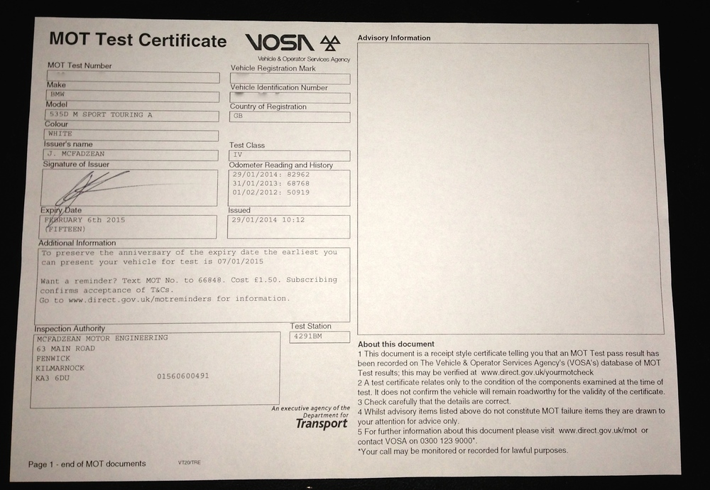 MOT Certificate (identifying numbers obscured)