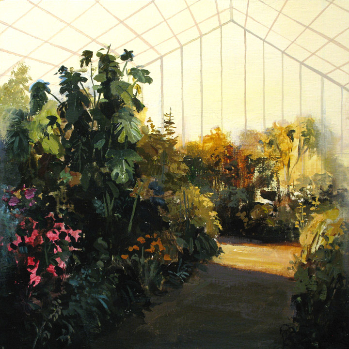 "Greenhouse Interior (study)  Acrylic on Panel  10""x10"""