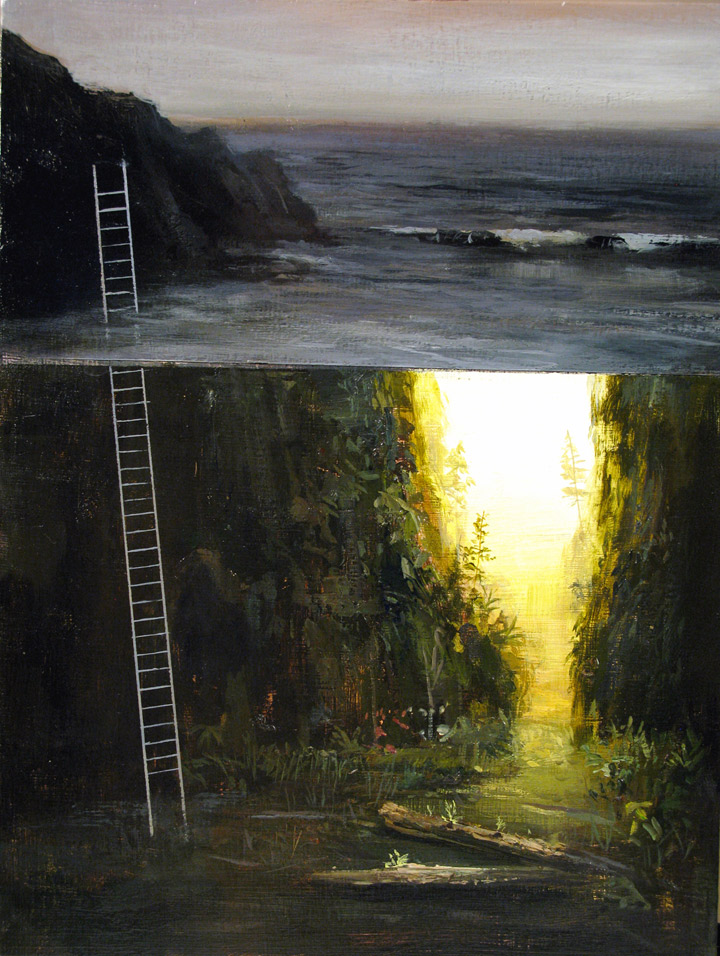 "Oregon Ladder (study)  Acrylic on Panel  9""x12"""