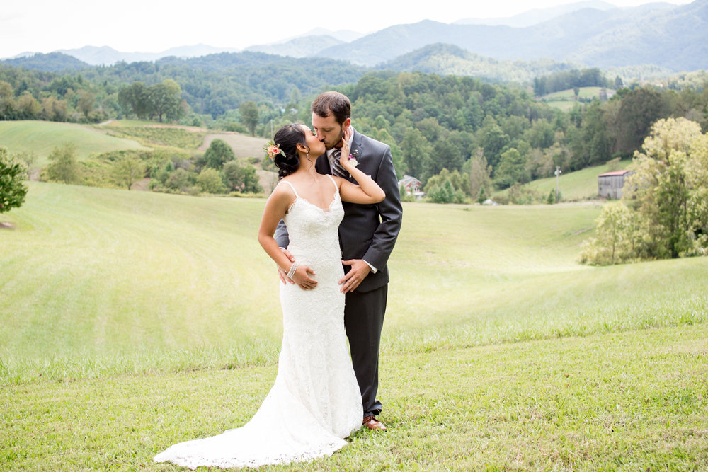 The Ridge, an outdoor wedding venue just north of Asheville includes that quintessential view of the Appalachian mountains.