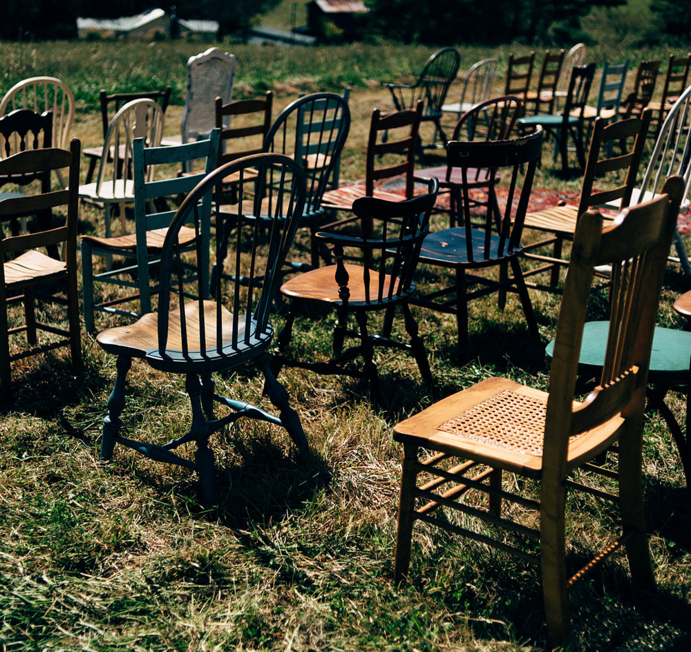 using mixed chairs from east west vintage rental (10? like the photo above)