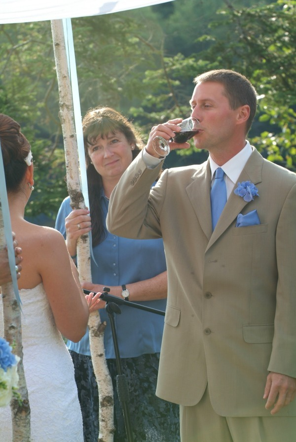 A secular wine ceremony from A Sweet Start, a Maine wedding officiant | Photo from my wedding by Amy Wilton Photography