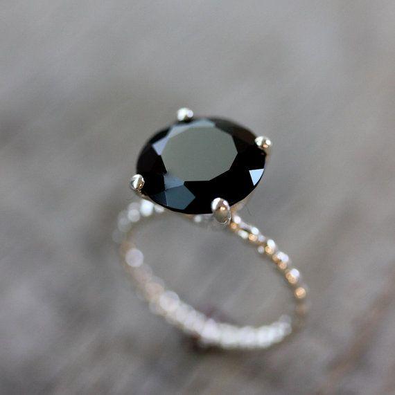 Black Spinel and 14K Rose Gold Ring