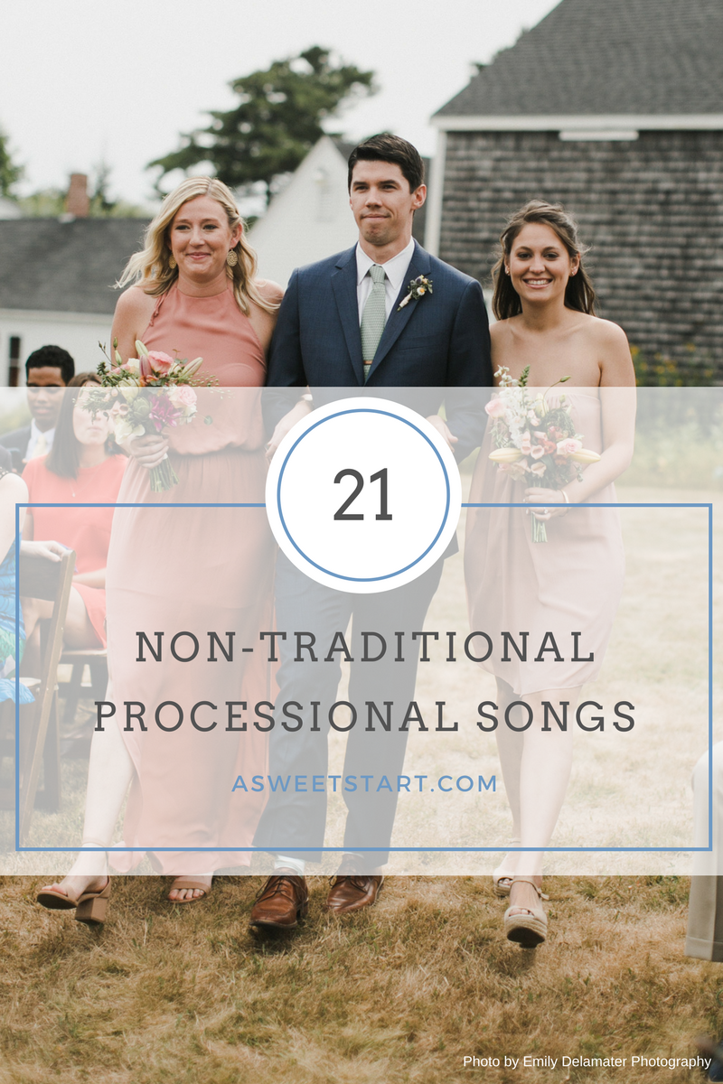 21 fun unique and non traditional processional songsa sweet start 21 fun unique and non traditional wedding processional songs photo by emily delamater junglespirit Image collections