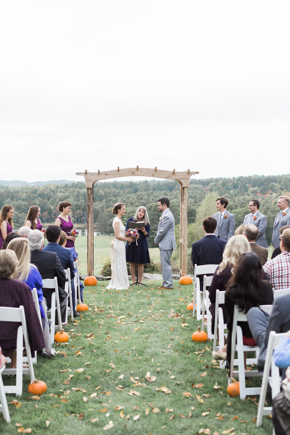 Fall Maine wedding in an apple orchard | Officiant:  A Sweet Start  | Photo:  KAngell Photography