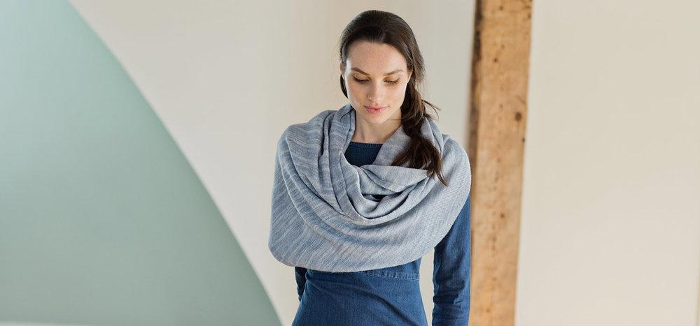 Merino wool Kennebunk Wrap from Swans Island Company in midcoast Maine