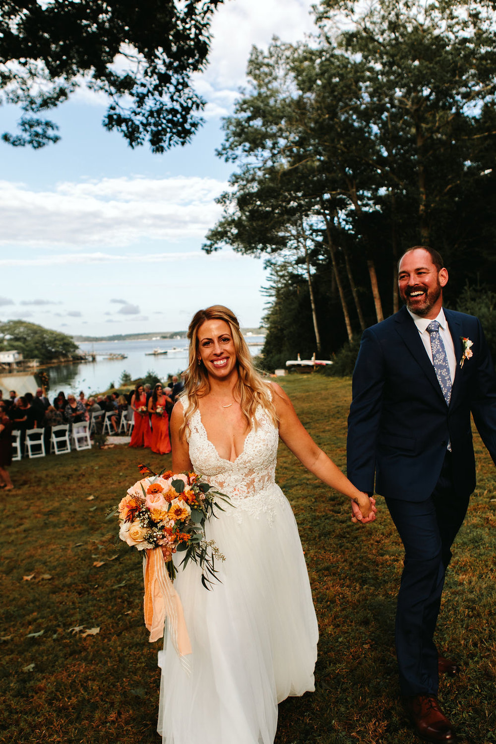 Heartwarming waterfront wedding at a classic Maine bed & breakfast. Photo by  Leslie Swan Photography