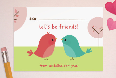 """happy birdie"" classroom valentine by guess what? on Minted"