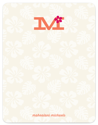 Aloha Monogram   Flat Stationery