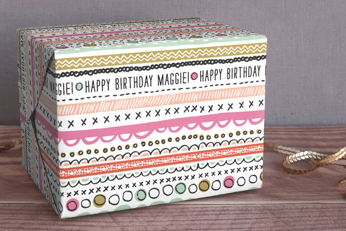 doodle strip personalized wrapping paper by  alethea & ruth