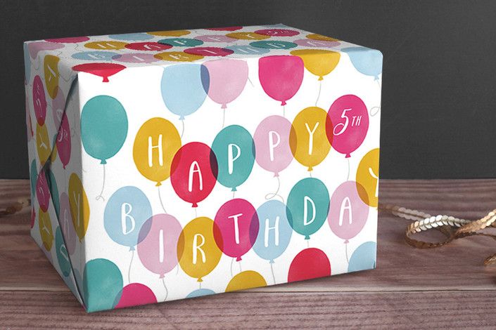 birthday balloons personalized wrapping paper by  hooray creative