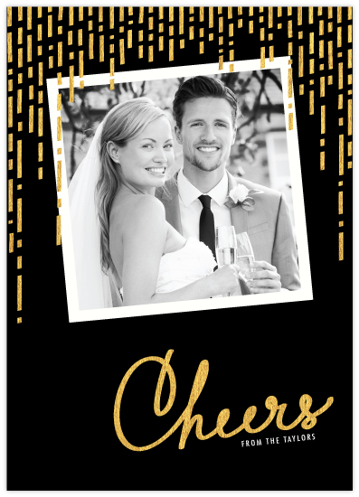 gilded cheers holiday photo card