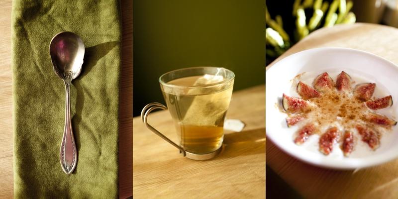 Breakfast! SOOOO good! Green Tea and Greek Yogurt with honey, cinnamon, and fresh figs.