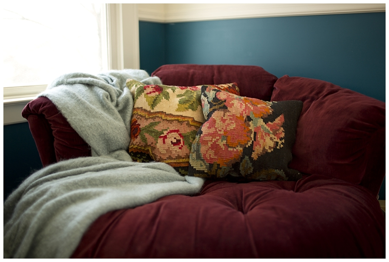 Cynthia Rowley blanket and vintage chinese rug pillows..uh yes please!
