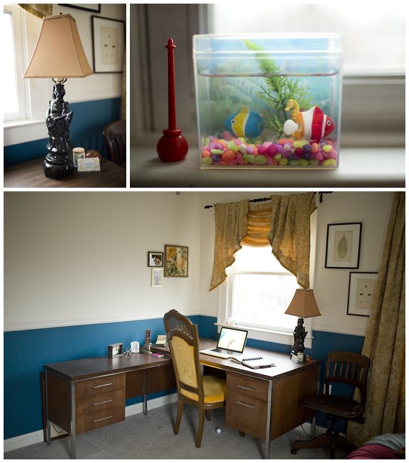 My fake fish tank..I just can't bear to see them die, so this way is much easier! DIY lamp and my favorite $5 yellow chair find (cha-ching)