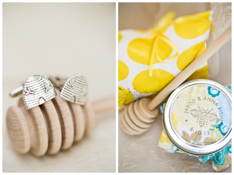 Jarod's beehive cufflinks and their honey favors